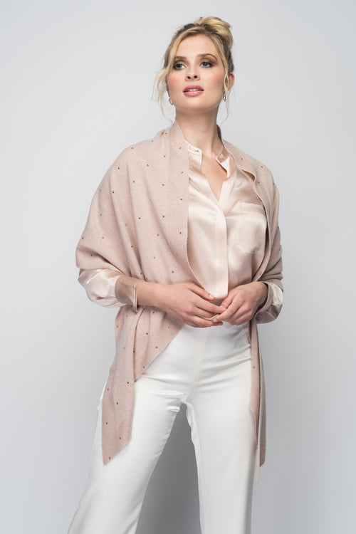 Cashmere Stole with Crystals in Blush