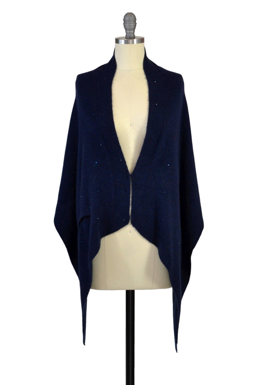 Cashmere Stole with Crystals in Midnight Blue