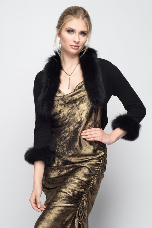 Cashmere Bolero with Fox Cuffs & Collar in Black
