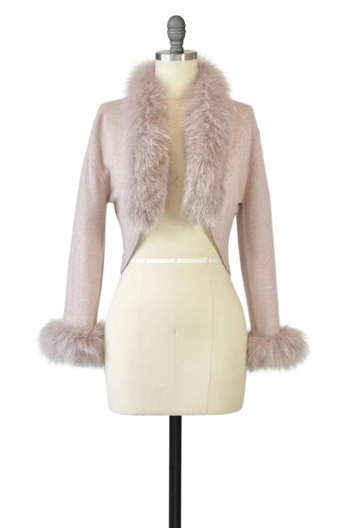 Cashmere Bolero with Fox on Cuffs and Collar in Blush