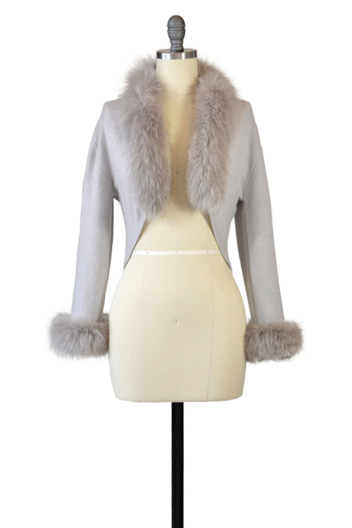 Cashmere Bolero with Fox Cuffs & Collar in Dove Gray