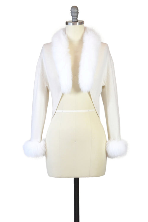 Cashmere Bolero with Fox Cuffs & Collar in Ivory