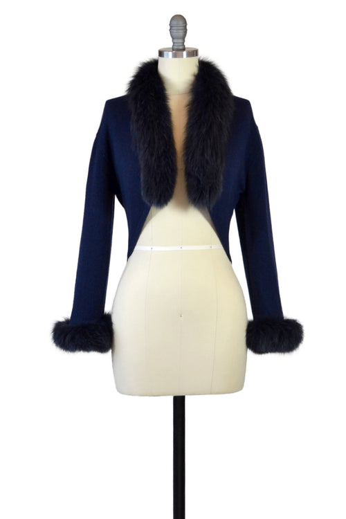 Cashmere Bolero with Fox Cuffs & Collar in Midnight Blue
