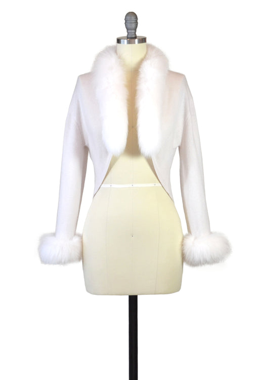 Cashmere Bolero with Fox Cuffs & Collar in Shell