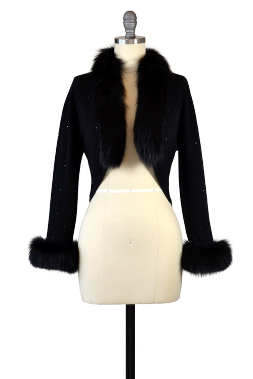 Cashmere Bolero with Fox & Crystals in Black