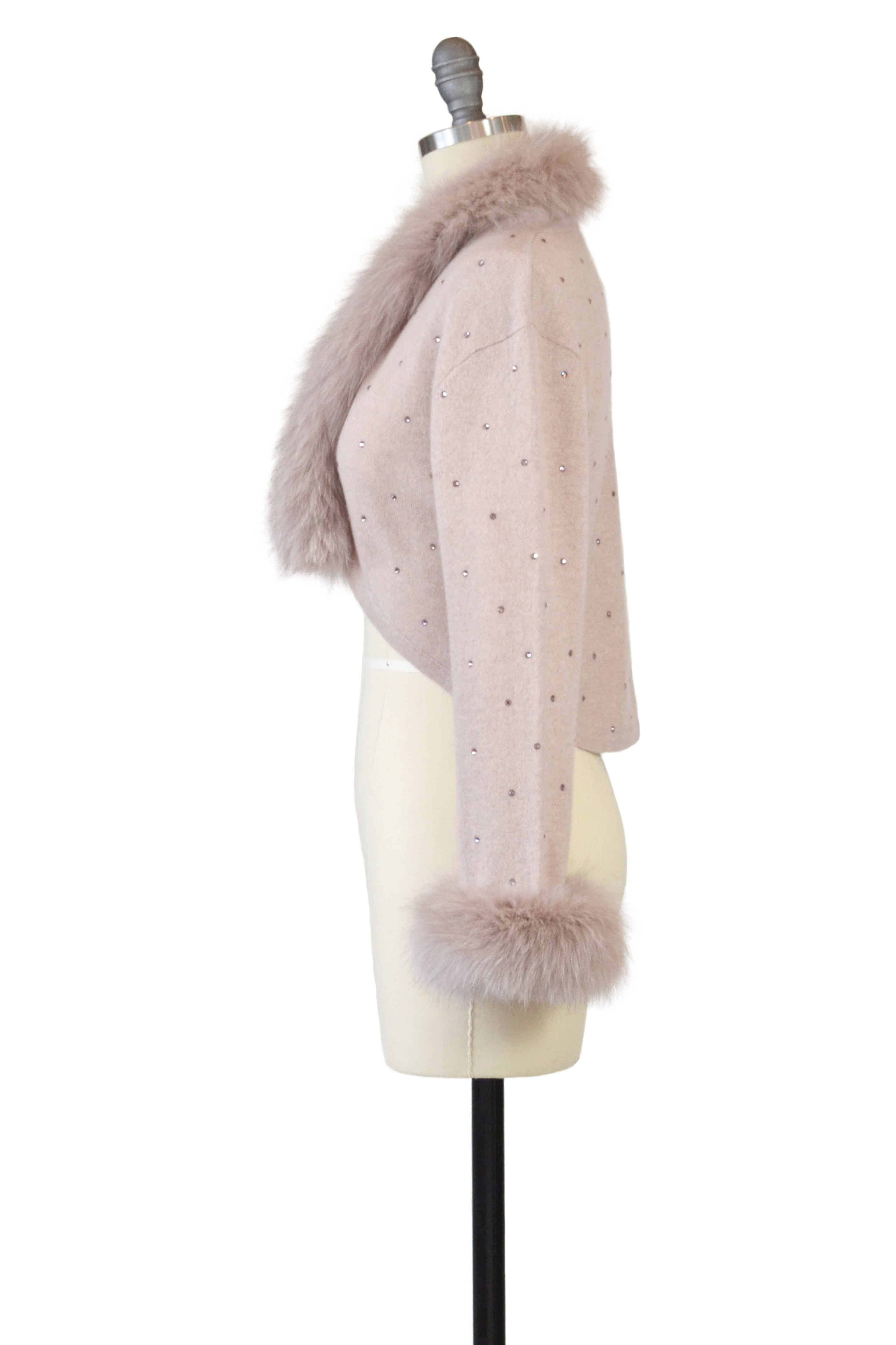 Cashmere Bolero with Fox & Crystals in Blush