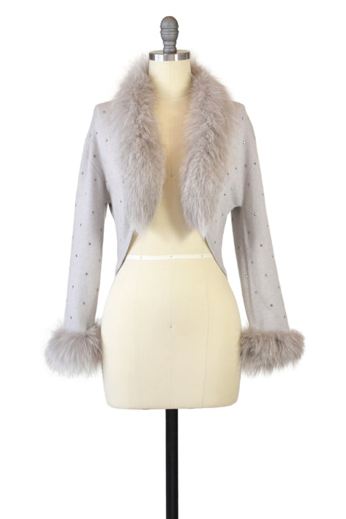 Cashmere Bolero with Fox & Crystals in Dove Gray