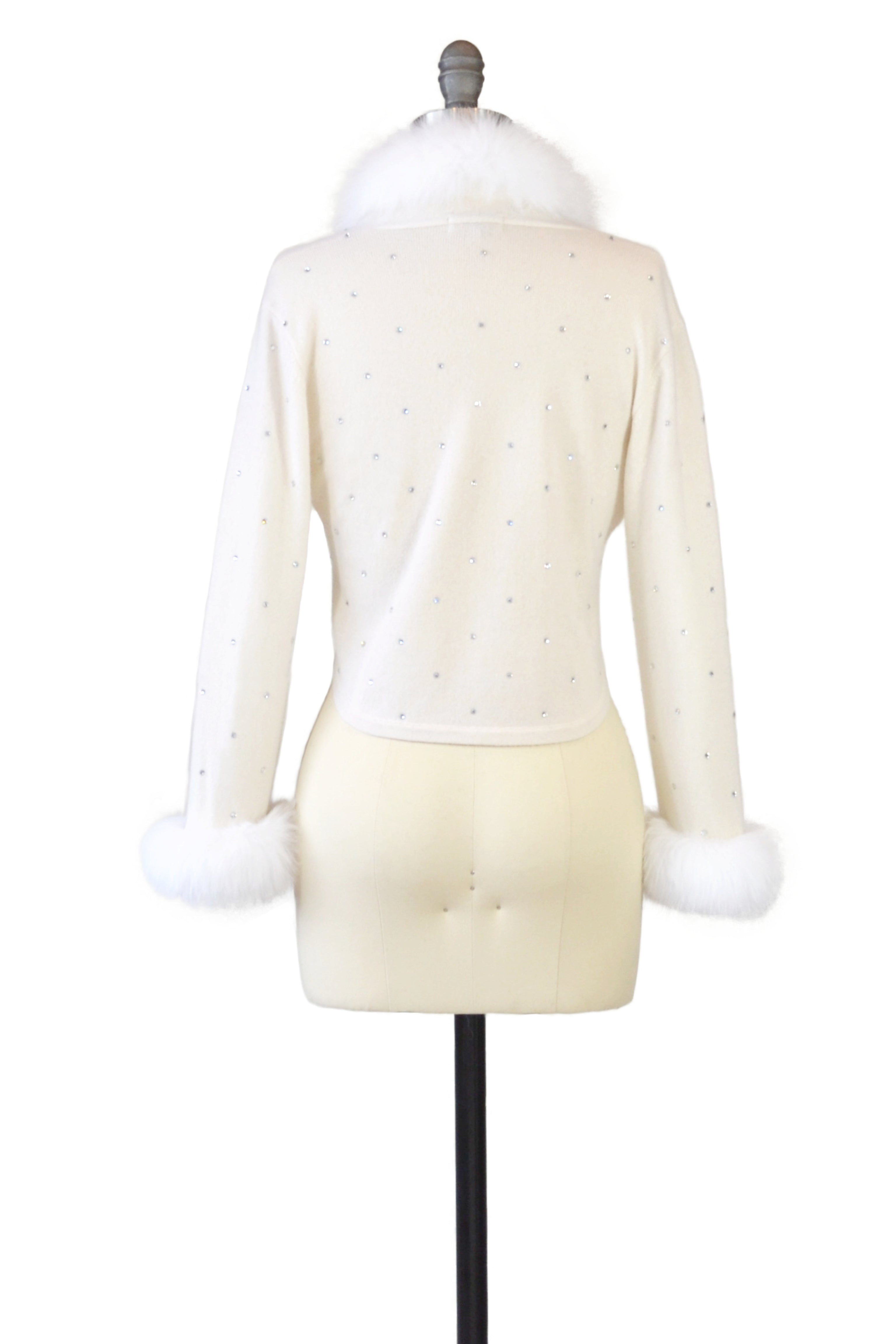 Cashmere Bolero with Fox & Crystals in Ivory