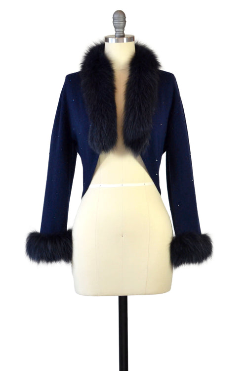 Cashmere Bolero with Fox & Crystals in Midnight Blue