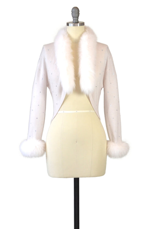 Cashmere Bolero with Fox & Crystals in Shell