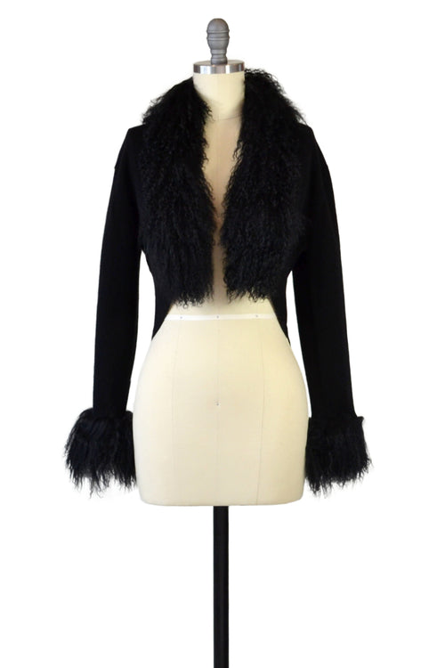 Cashmere Bolero with Tibetan Sheep Cuffs & Collar in Black