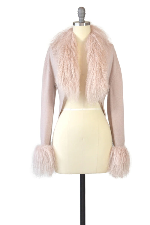 Cashmere Bolero with Tibetan Sheep Cuffs & Collar in Blush