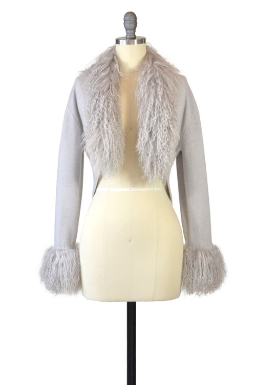Cashmere Bolero with Tibetan Sheep Cuffs & Collar in Dove Gray