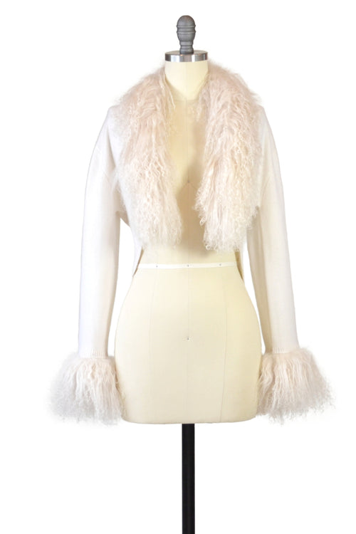 Cashmere Bolero with Tibetan Sheep Cuffs & Collar in Ivory