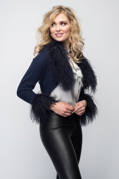 Cashmere Bolero with Tibetan Sheep Cuffs & Collar in Midnight Blue