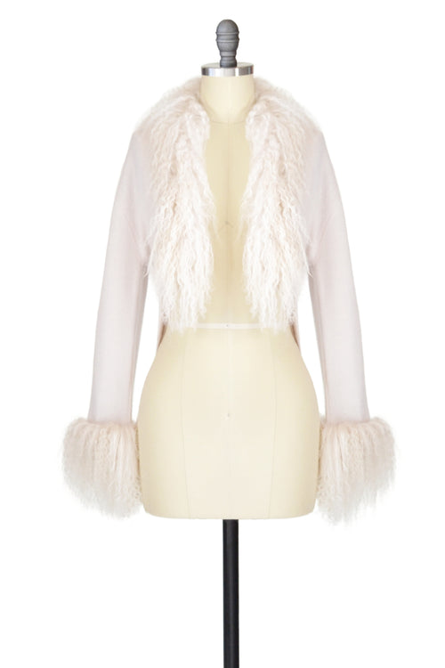 Cashmere Bolero with Tibetan Sheep Cuffs & Collar in Shell