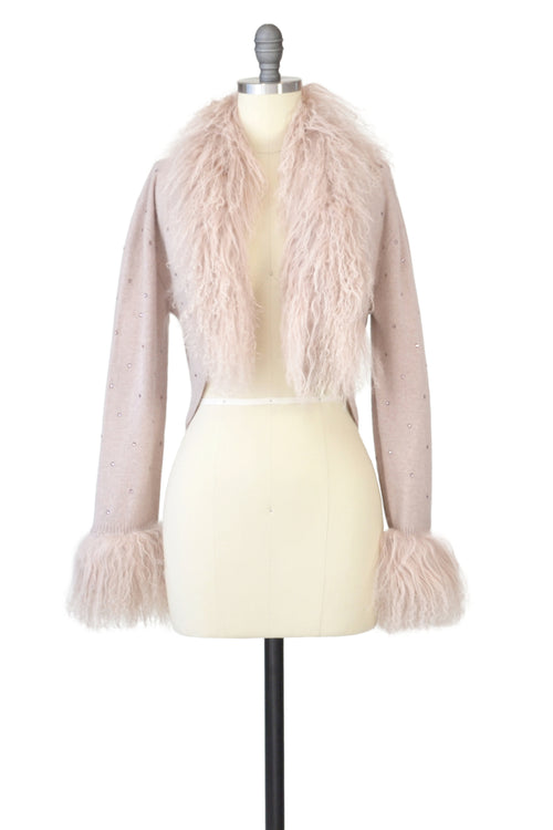 Cashmere Bolero with Tibetan Sheep & Crystals in Blush