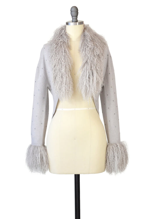 Cashmere Bolero with Tibetan Sheep & Crystals in Dove Gray