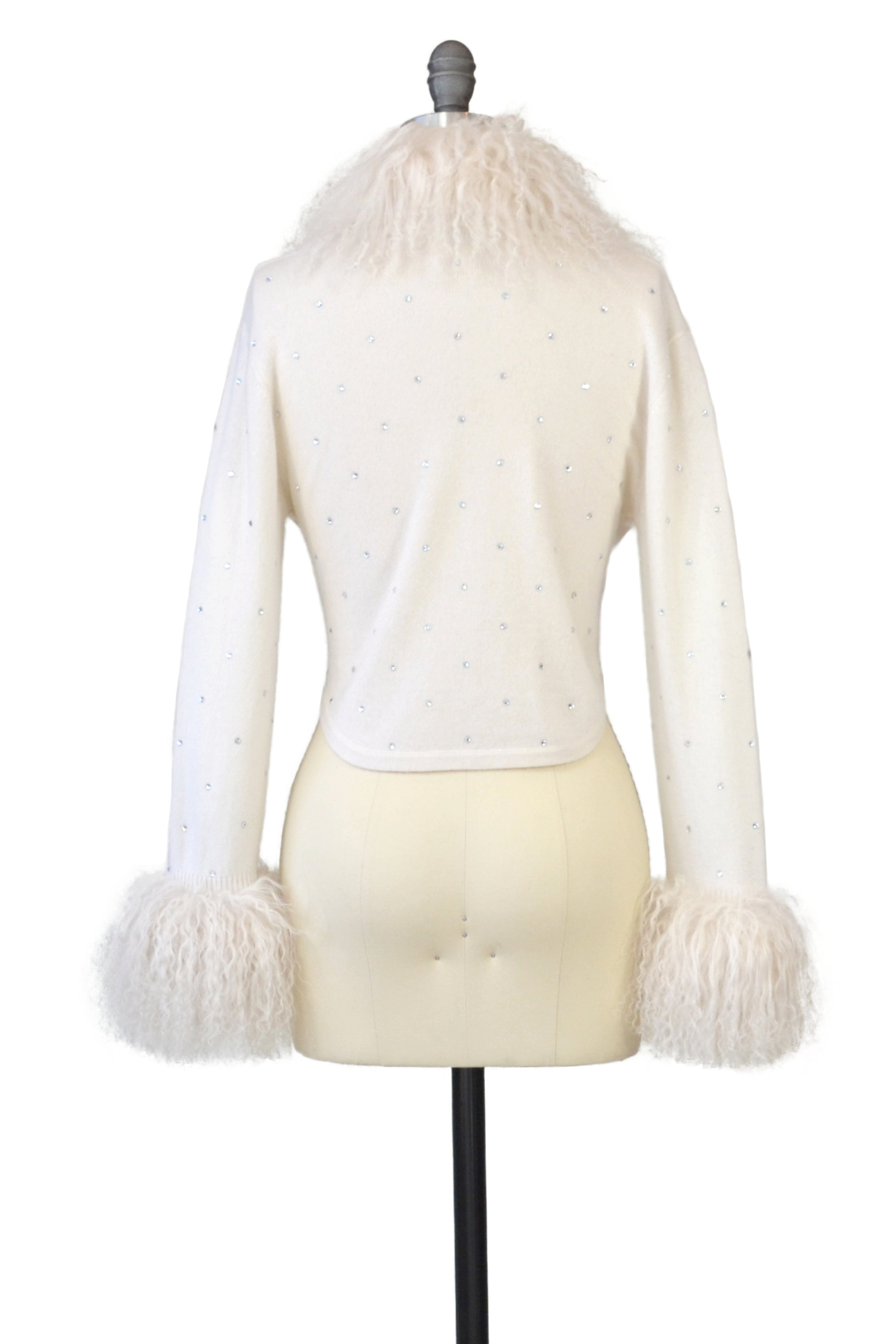 Cashmere Bolero with Tibetan Sheep & Crystals in Ivory