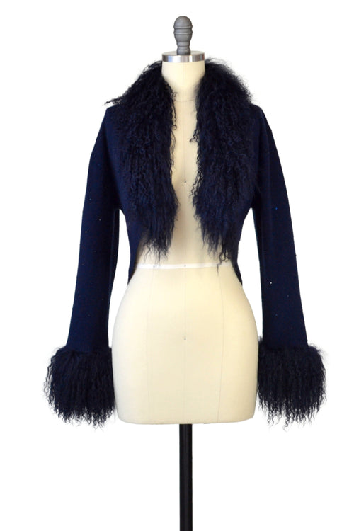 Cashmere Bolero with Tibetan Sheep & Crystals in Midnight Blue