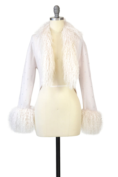 Cashmere Bolero with Tibetan Sheep & Crystals in Shell