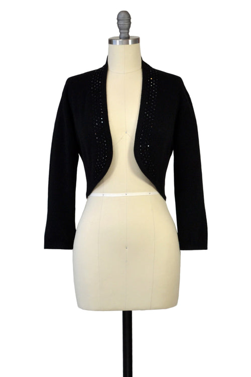 Cashmere Bolero with Crystal Shawl Collar in Black