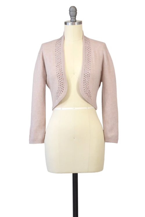 Cashmere Bolero with Crystal Shawl Collar in Blush