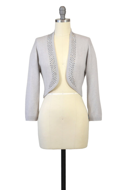 Cashmere Bolero with Crystal Shawl Collar in Dove Gray
