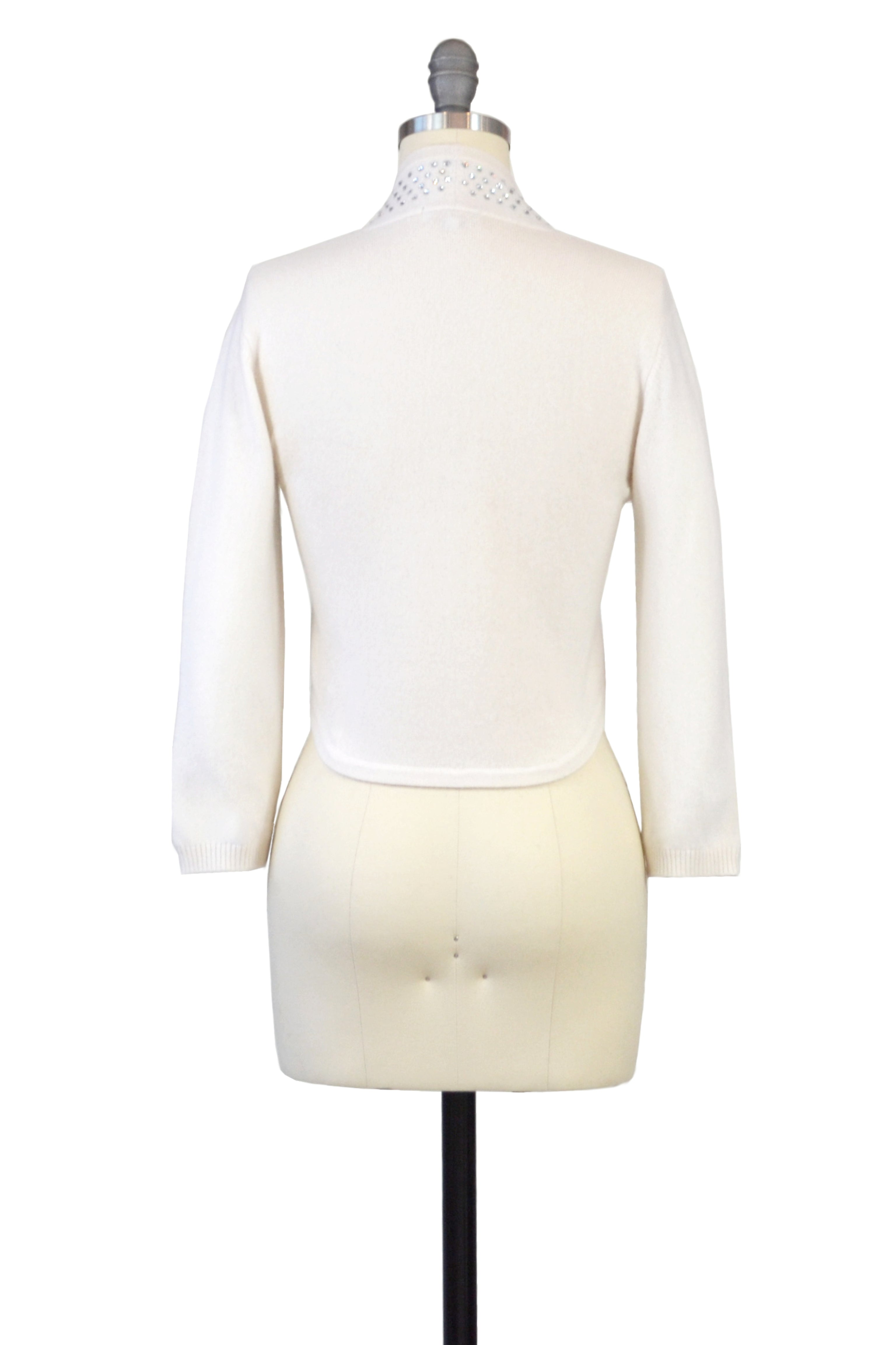 Cashmere Bolero with Crystal Shawl Collar in Ivory