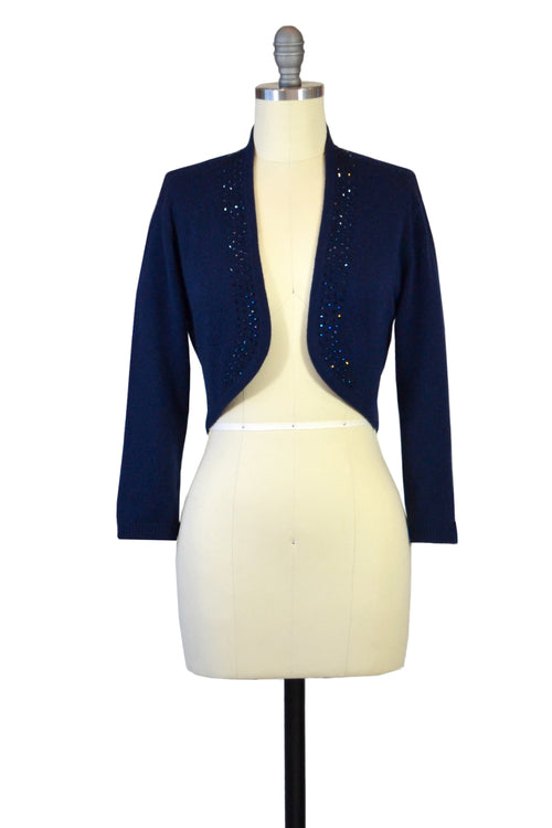 Cashmere Bolero with Crystal Shawl Collar in Midnight Blue