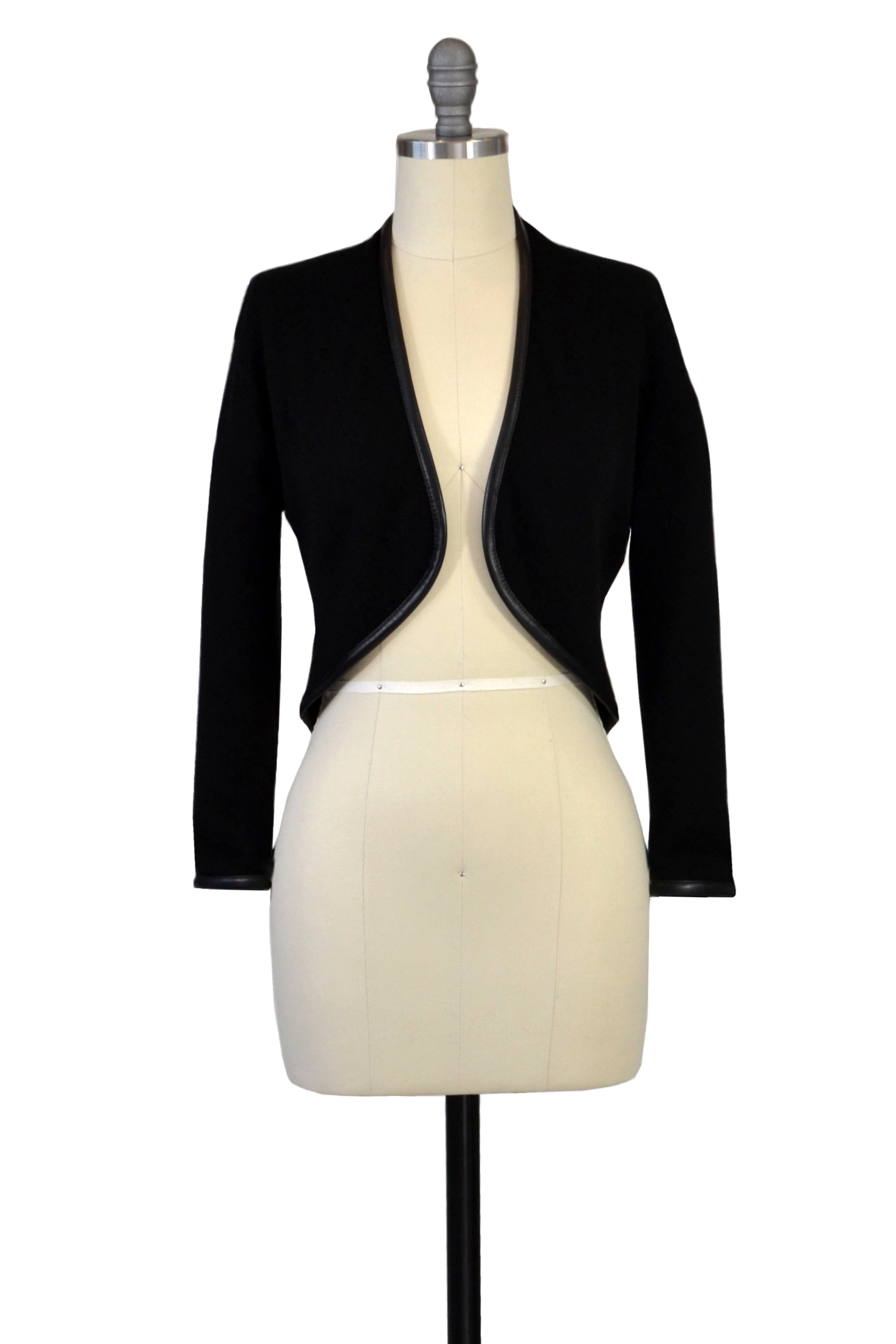 Cashmere Bolero with Leather Piping in Black