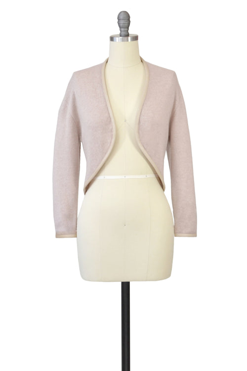 Cashmere Bolero with Leather Piping in Blush