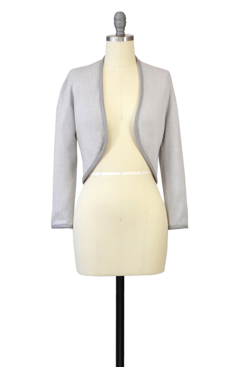 Cashmere Bolero with Leather Piping in Dove Gray