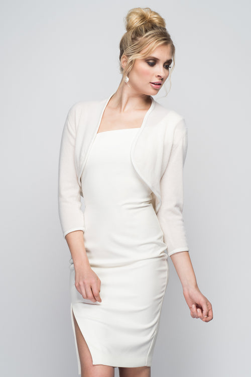Cashmere Bolero with Leather Piping in Ivory