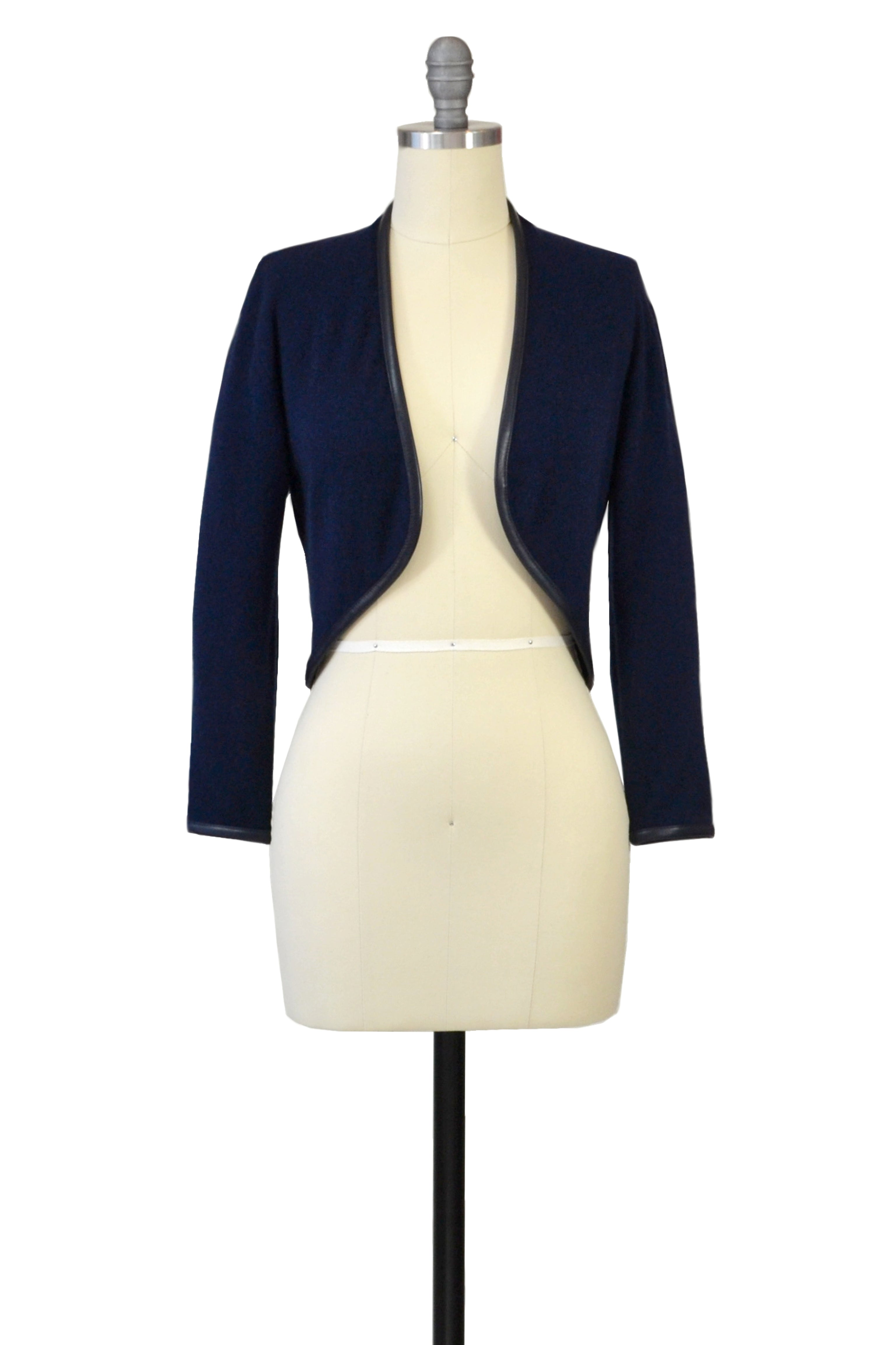 Cashmere Bolero with Leather Piping in Midnight Blue