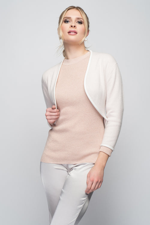Cashmere Bolero with Leather Piping in Shell