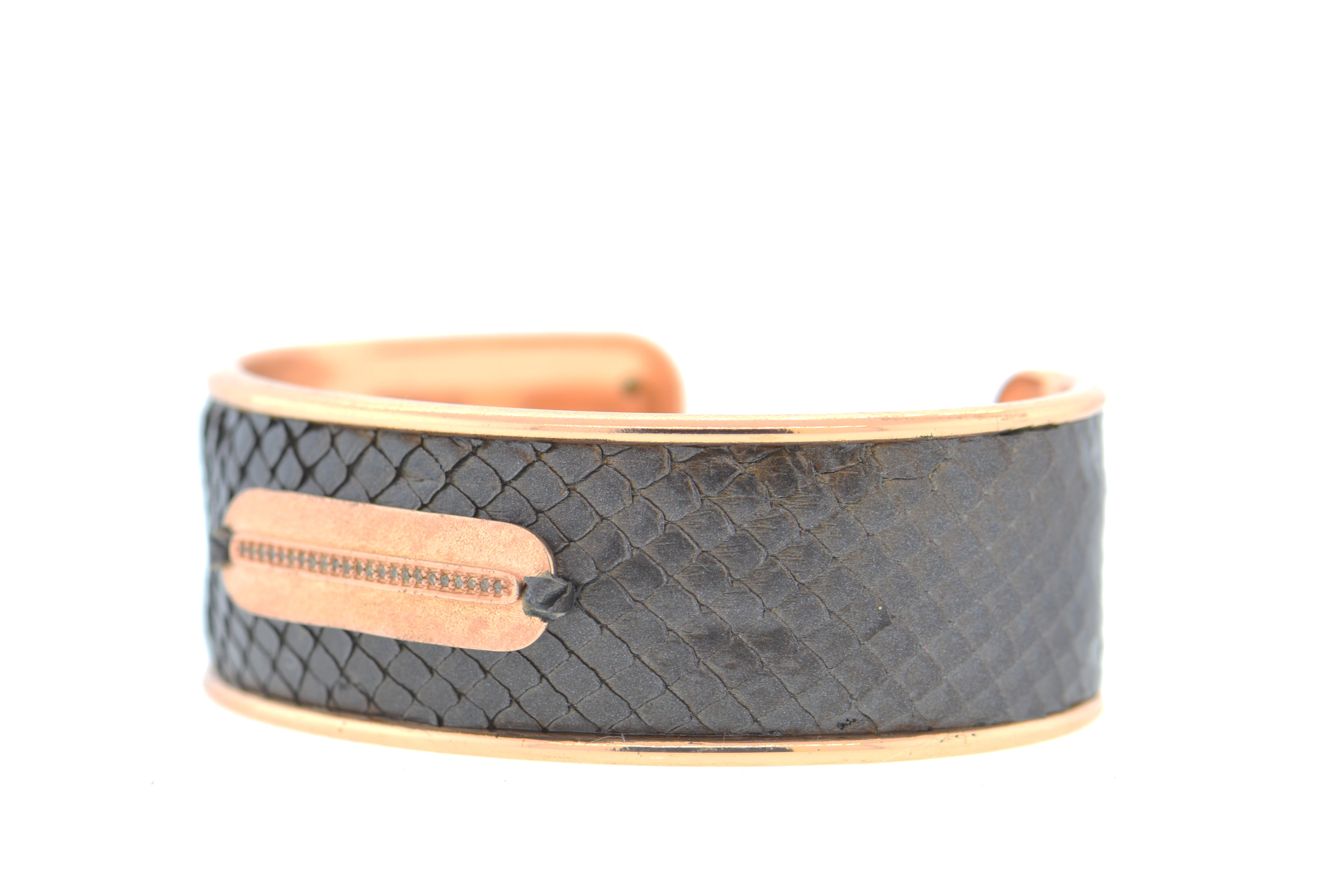 Medium Mahogany Python Cuff in Rose Gold