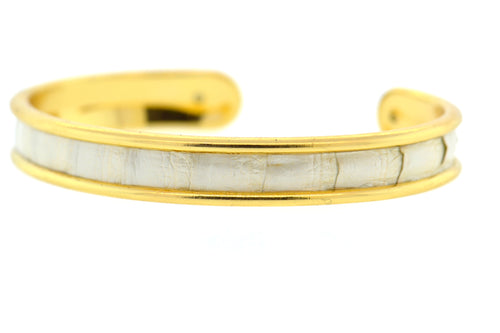 Petite Pearl Python Cuff in Gold