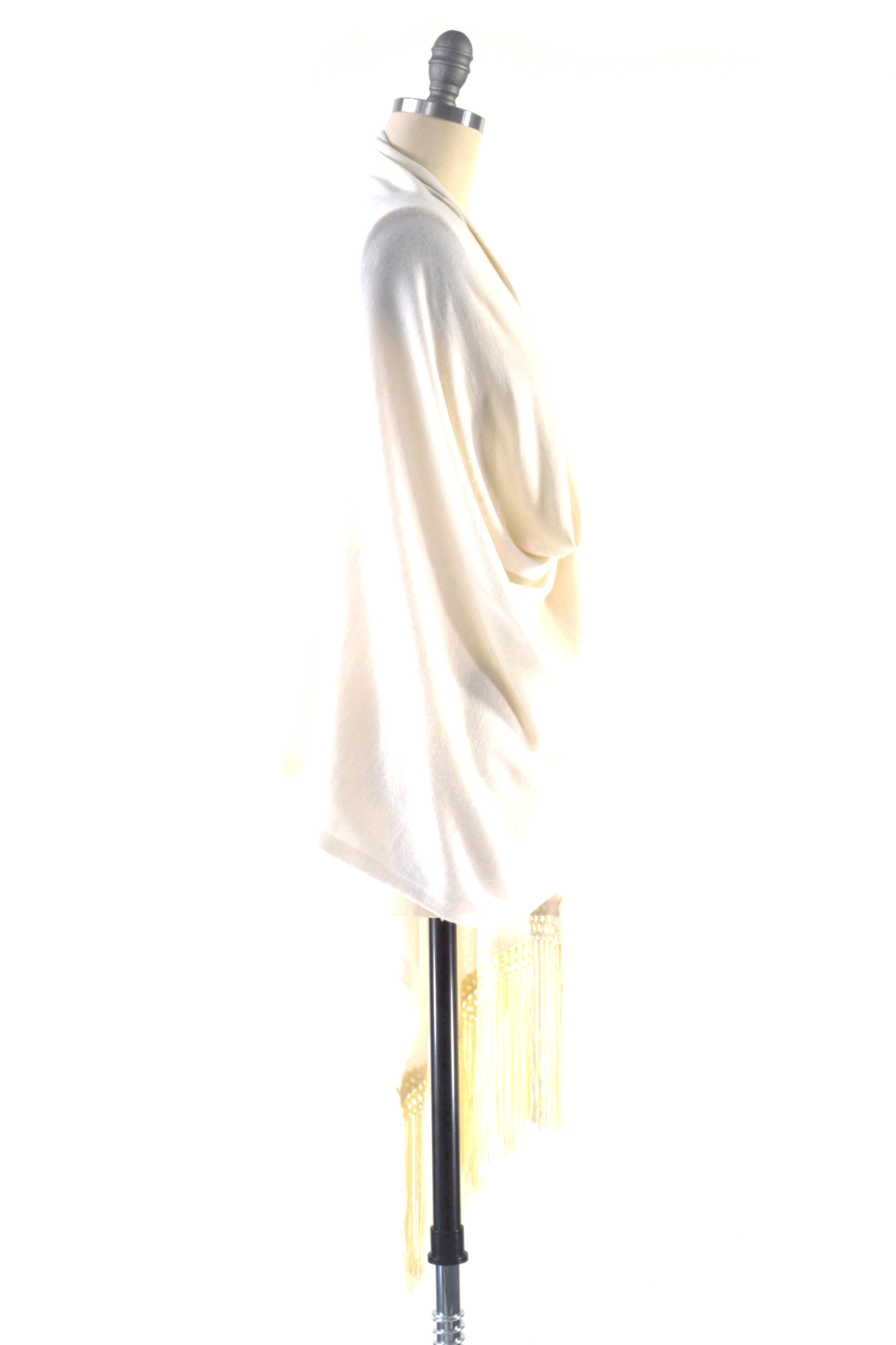 Fine Cashmere Wrap with Double Silky Macrame Fringe in Ivory