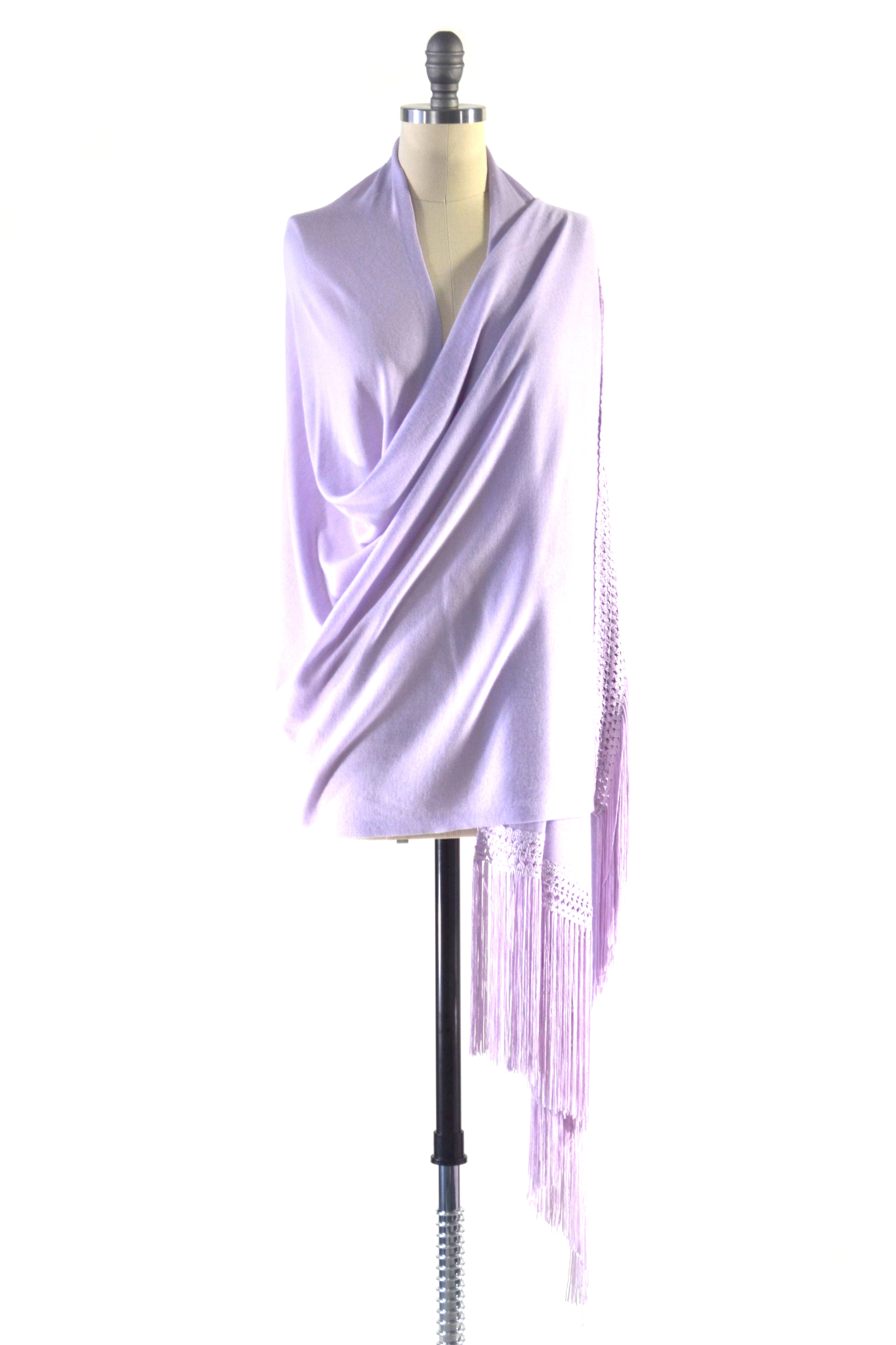 Fine Cashmere Wrap with Double Silky Macrame Fringe in Lavender