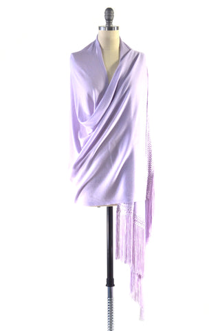 Fine Cashmere Wrap with Double Ostrich Feathers in Silver Gray