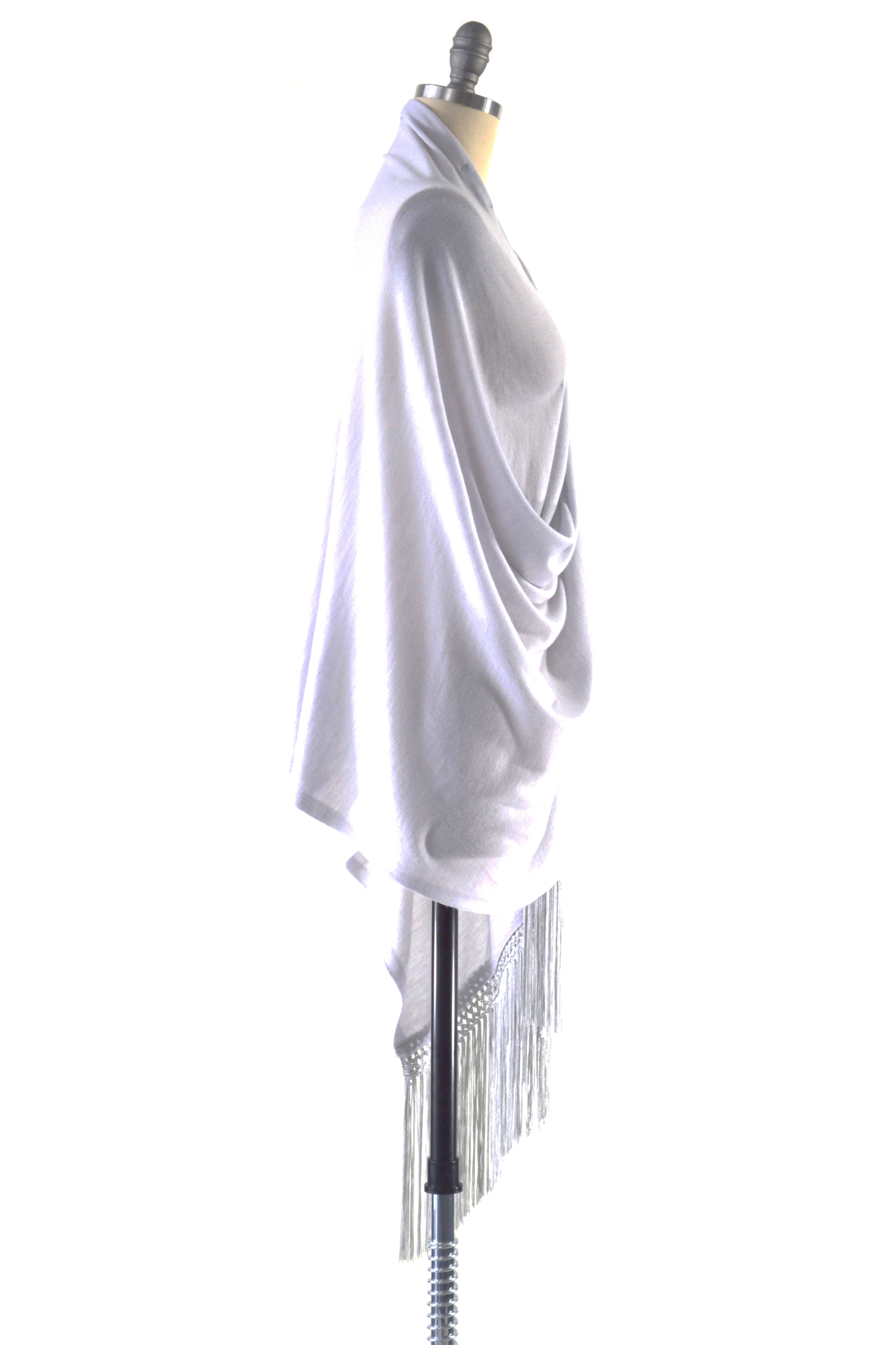Fine Cashmere Wrap with Double Silky Macrame Fringe in Silver Gray