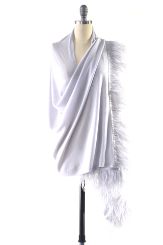 Fine Cashmere Wrap with Double Silky Macrame Fringe in Black