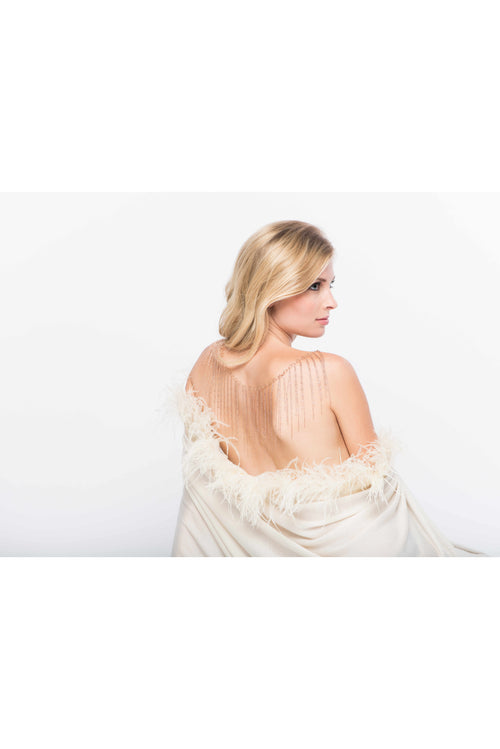 Fine Cashmere Wrap with Long Ostrich Feathers in Ivory