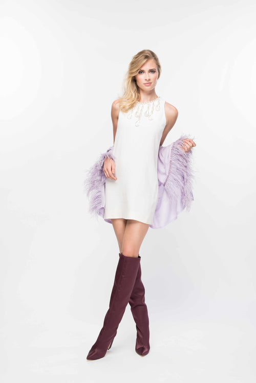 Fine Cashmere Wrap with Long Ostrich Feathers in Lavender