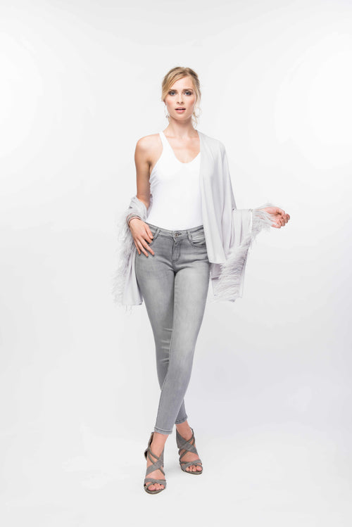 Fine Cashmere Wrap with Long Ostrich Feathers in Silver Gray