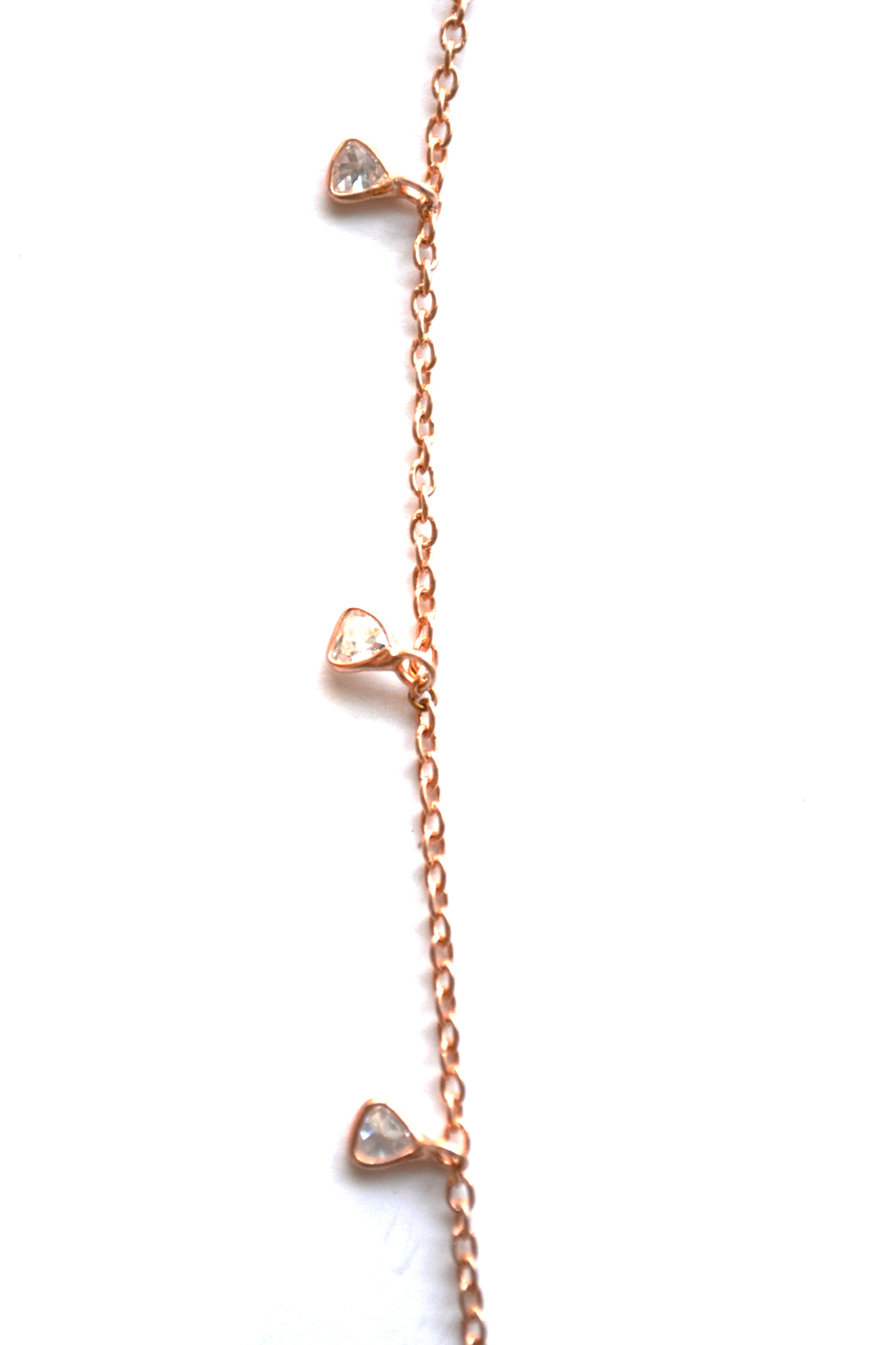 Rose Gold Celestial Diamond Necklace with a Tear Drop Charm
