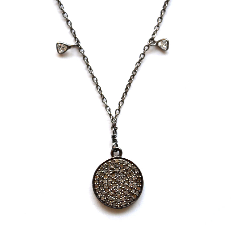 Oxidized Sterling Silver Celestial Diamond Necklace with a Round Disc Charm