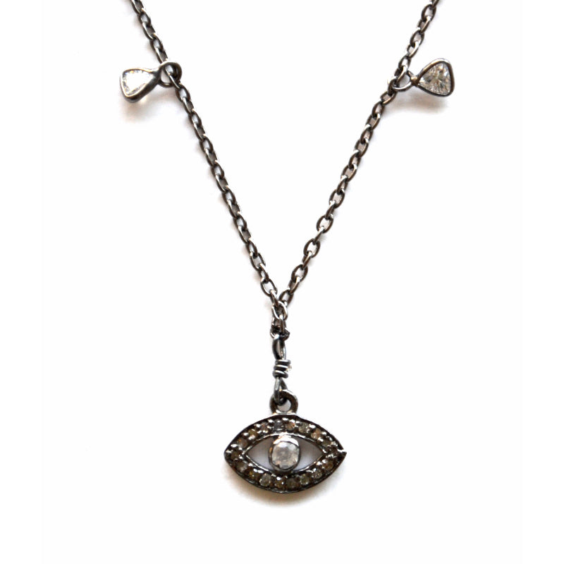 Oxidized Sterling Silver Celestial Diamond Necklace with an Eye Charm