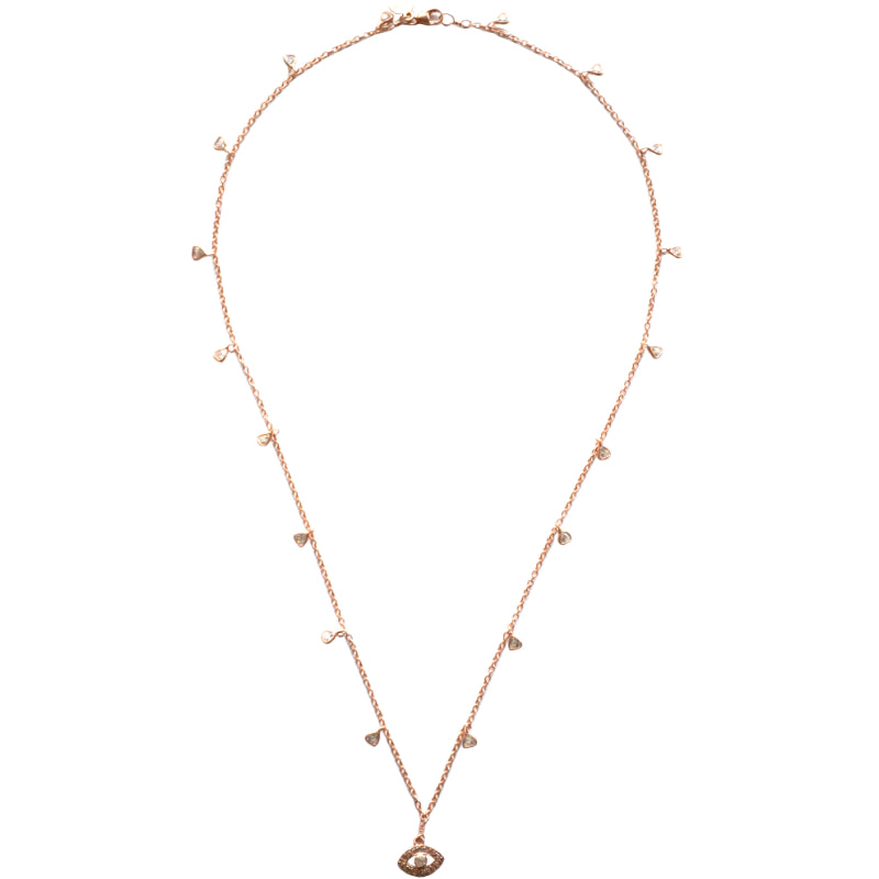 Rose Gold Celestial Diamond Necklace with an Eye Charm